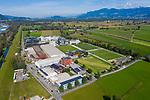 Drohnenaufnahme: Liechtenstein.<br /> Ruggell, Gewerbegebiet, Industriezone.<br /> Foto: ©Paul J. Trummer