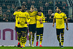 14.02.2020, Signal Iduna Park, Dortmund, GER, 1. BL, Borussia Dortmund vs Eintracht Frankfurt, DFL regulations prohibit any use of photographs as image sequences and/or quasi-video<br /> <br /> im Bild / picture shows / Erling Haland (#17, Borussia Dortmund) jubelt nach seinem Tor zum 3:0 mit seiner Mannschaft<br /> <br /> Foto © nordphoto/Mauelshagen