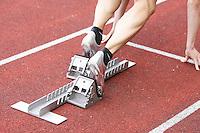 Ein Sprinter startet in sein Rennen. Foto: Jan Kaefer / aif