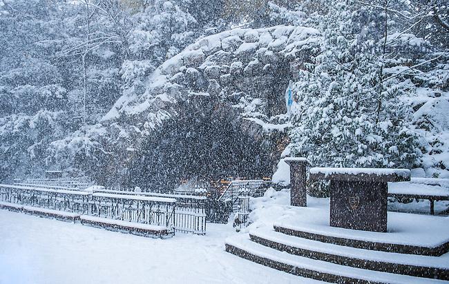 Nov. 13, 2014; Grotto in Snow (Photo by Matt Cashore/University of Notre Dame)