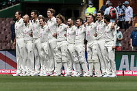 7th January 2021; Sydney Cricket Ground, Sydney, New South Wales, Australia; International Test Cricket, Third Test Day One, Australia versus India; Australia during their national anthem before play