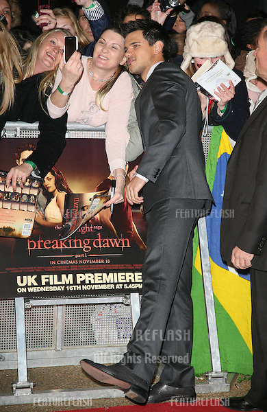 Taylor Lautner arriving for the UK premiere of The Twilight Saga: Breaking Dawn Part 1 at Westfield Stratford City, London. 17/11/2011 Picture by: Alexandra Glen / Featureflash