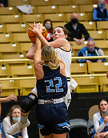 Gracie Eaves (10) of Bentonville get fouled by Ella Nelson (22) of Spring Har-ber at Tiger Arena, Bentonville, AR January 5, 2021 / Special to NWA Democrat-Gazette/ David Beach