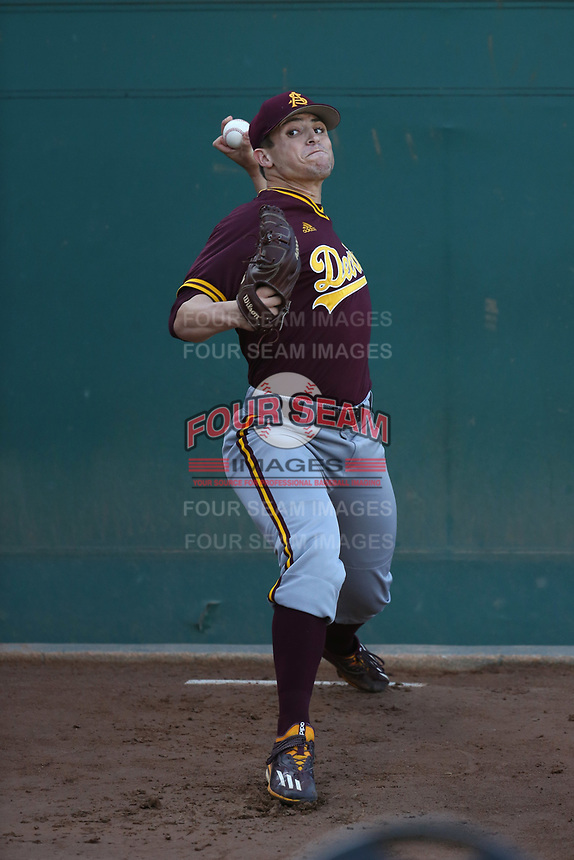 Eli Lingos (15) of the Arizona State Sun Devils throws in the bullpen before pitching against the Southern California Trojans at Dedeaux Field on March 24, 2017 in Los Angeles, California. Southern California defeated Arizona State, 5-4. (Larry Goren/Four Seam Images)