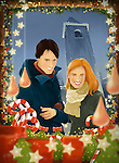 Illustration of happy couple shopping for Christmas decorations