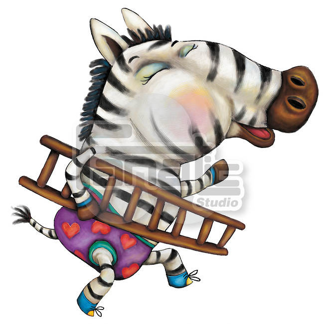 Illustration of zebra carrying ladder over white background