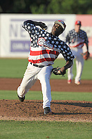 Victor Alcantara #45 of the Burlington Bees throws against the Clinton LumbeKings at Community Field  on July 3, 2014 in Burlington, Iowa. The LumberKings beat the Bees 6-5.   (Dennis Hubbard/Four Seam Images)
