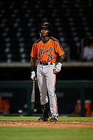 AZL Giants Orange Javeyan Williams (34) at bat during an Arizona League game against the AZL Cubs 1 on July 10, 2019 at Sloan Park in Mesa, Arizona. The AZL Giants Orange defeated the AZL Cubs 1 13-8. (Zachary Lucy/Four Seam Images)