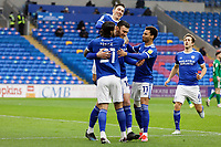 Kieffer Moore of Cardiff City celebrates with team mates, his goal from the penalty spot during the Sky Bet Championship match between Cardiff City and Preston North End at the Cardiff City Stadium, Cardiff, Wales, UK. Saturday 20 February 2021
