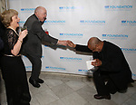 """Victoria Traube, Jack O'Brien and Sheldon Epps during The """"Mr. Abbott"""" Award 2019 at The Metropolitan Club on 3/25/2019 in New York City."""