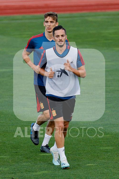 Diego Llorente and Pablo Sarabia during the Trainee Session at Ciudad del Futbol in Las Rozas, Spain. September 02, 2019. (ALTERPHOTOS/A. Perez Meca)