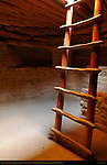 Restored Kiva, Ladder and Vent Deflector, Pilasters supporting Roof, Spruce Tree House Cliff Dwelling, Anasazi Hisatsinom Ancestral Pueblo Site, Chapin Mesa, Mesa Verde National Park, Colorado