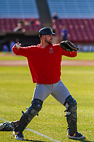 Burlington Bees catcher Harrison Wenson (9) warms up prior to a Midwest League game against the Wisconsin Timber Rattlers on April 26, 2019 at Fox Cities Stadium in Appleton, Wisconsin. Wisconsin defeated Burlington 2-0. (Brad Krause/Four Seam Images)