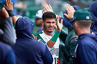 Fort Wayne TinCaps Tucupita Marcano (15) is congratulated by teammates after scoring a run during a Midwest League game against the Kane County Cougars at Parkview Field on May 1, 2019 in Fort Wayne, Indiana. Fort Wayne defeated Kane County 10-4. (Zachary Lucy/Four Seam Images)