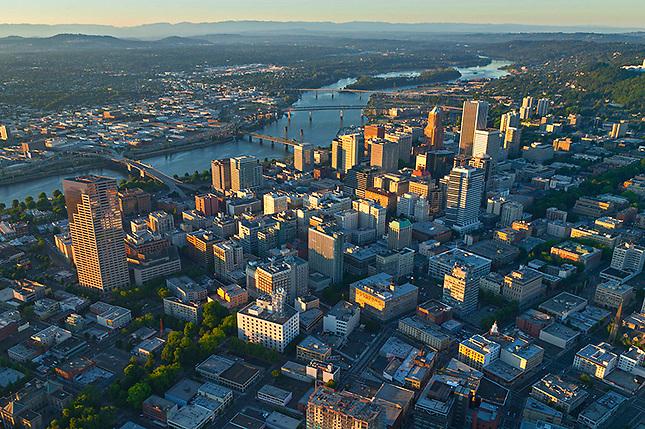Portland Oregon downtown on Willamette River