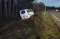 BNPS.co.uk (01202) 558833. <br /> Pic: DorsetTrafficCops/BNPS<br /> <br /> A coach driver smashed into the central reservation of a dual carriageway before rebounding into a ditch because he was dancing at the wheel.<br /> <br /> Kieron Jury, 27, was driving the Laguna coach near Bournemouth in Dorset when he decided to break into a spontaneous boogie.<br /> <br /> His moves took his attention away from the road and the vehicle careered into the central reservation.
