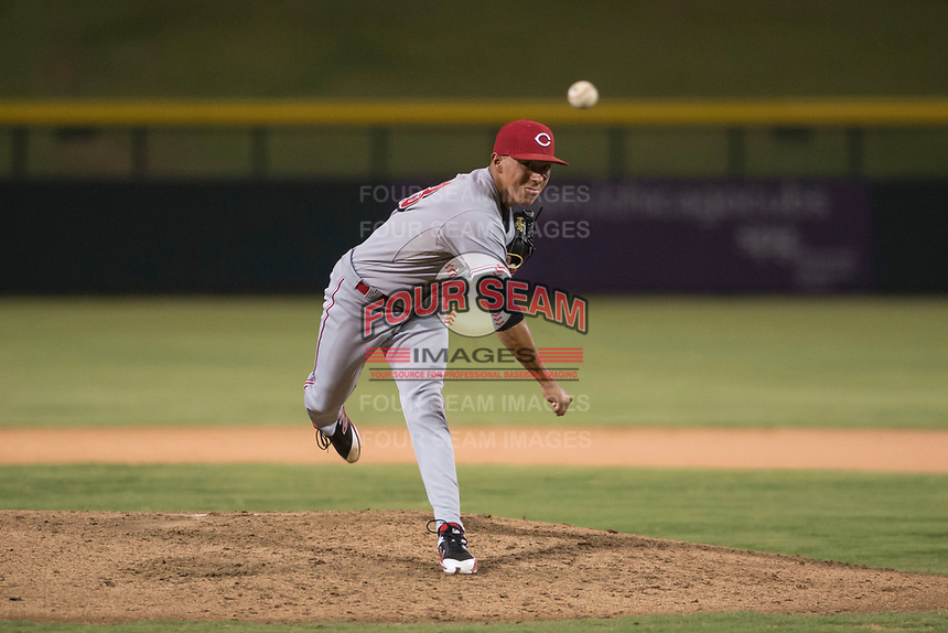 AZL Reds relief pitcher Alberto Gonzalez (33) follows through on his delivery during an Arizona League game against the AZL Cubs 1 at Sloan Park on July 13, 2018 in Mesa, Arizona. The AZL Cubs 1 defeated the AZL Reds 4-1. (Zachary Lucy/Four Seam Images)