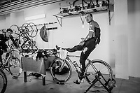 When a sceduled long training ride is cut short by snow/cold/rain Jasper Stuyven (BEL/Trek-Segafredo) & John Degenkolb (DEU/Trek-Segafredo) complete their hours of training on the rollers in the basement of the team hotel<br /> <br /> Team Trek-Segafredo winter training camp <br /> <br /> january 2017, Mallorca/Spain