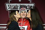 Tiesj Benoot (BEL) Lotto Soudal takes a solo victory of the 2018 Strade Bianche Men Elite NamedSport race running 184km from Siena to Siena, Tuscany, Italy. 3rd March 2018.<br /> Picture: LaPresse/Fabio Ferrari | Cyclefile<br /> <br /> <br /> All photos usage must carry mandatory copyright credit (© Cyclefile | LaPresse/Fabio Ferrari)
