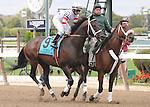 Trickmeister, ridden by Cornelio Velasquez, runs in the Kelso Handicap (GII) at Belmont Park in Elmont, New York on September 29, 2012. (Bob Mayberger/Eclipse Sportswire)
