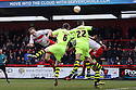 David Gray of Stevenage heads for goal. Stevenage v Yeovil Town- npower League 1 -  Lamex Stadium, Stevenage - 13th April, 2013. © Kevin Coleman 2013.. . . . .. . . .  . . .  .