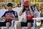 Lotto-Soudal riders before Stage 2 of the 2021 UAE Tour an individual time trial running 13km around  Al Hudayriyat Island, Abu Dhabi, UAE. 22nd February 2021.  <br /> Picture: Eoin Clarke | Cyclefile<br /> <br /> All photos usage must carry mandatory copyright credit (© Cyclefile | Eoin Clarke)