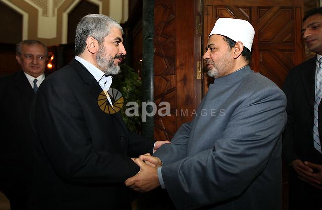 Senior Hamas leader Khaled Mashal meets with al-Azhar Sheikh, Ahmed al-Tiab in Cairo, Egypt on Jan. 24,2012. Photo by Mohammed al-Hams
