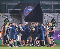 1st May 2021; Recreation Ground, Bath, Somerset, England; European Challenge Cup Rugby, Bath versus Montpellier; Bath players applaud Montpellier off the pitch