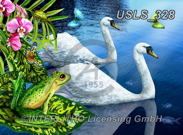 Lori, REALISTIC ANIMALS, REALISTISCHE TIERE, ANIMALES REALISTICOS, zeich, paintings+++++Two Swans_2_72,USLS328,#a#, EVERYDAY ,puzzle,puzzles