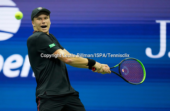 L - September  6, 2021:   Jenson Brooksby (USA) loses to Novak Djokovic (SRB),1-6, 6-3, 6-2, 6-2, at the US Open being played at Billy Jean King Ntional Tennis Center in Flushing, Queens, New York, {USA} ©Jo Becktold/Tennisclix/CSM