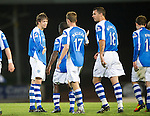 St Johnstone v Queens Park....25.09.12      Scottish Communities League Cup 3rd Round.Murray Davidson celebrates his goal.Picture by Graeme Hart..Copyright Perthshire Picture Agency.Tel: 01738 623350  Mobile: 07990 594431