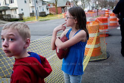 Lima, Ohio.March 2012..Children in a residential neighborhood.