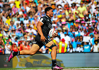 NZ's Caleb Clarke in action on day two of the 2018 HSBC World Sevens Series Hamilton at FMG Stadium in Hamilton, New Zealand on Saturday, 3 February 2018. Photo: Dave Lintott / lintottphoto.co.nz