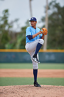Tampa Bay Rays relief pitcher Luis Moncada (79) delivers a pitch during an Instructional League game against the Pittsburgh Pirates on October 3, 2017 at Pirate City in Bradenton, Florida.  (Mike Janes/Four Seam Images)