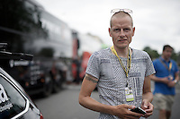 a controversial (press) visitor to the Tour: former rider Michael Rasmussen (DEN)<br /> <br /> start of stage 8 in Pau (towards Bagnères-de-Luchon, 184km)<br /> 103rd Tour de France 2016
