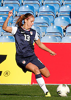 US's Alex Morgan kicks the ball during their Algarve Women's Cup soccer match at Algarve stadium in Faro, March 13, 2013.  .Paulo Cordeiro/ISI