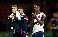 Bolton Wanderers' Adam Senior (left) and De'Marlio Brown-Sterling applaud their side's travelling supporters at the end of the match<br /> <br /> Photographer Andrew Kearns/CameraSport<br /> <br /> The Carabao Cup First Round - Rochdale v Bolton Wanderers - Tuesday 13th August 2019 - Spotland Stadium - Rochdale<br />  <br /> World Copyright © 2019 CameraSport. All rights reserved. 43 Linden Ave. Countesthorpe. Leicester. England. LE8 5PG - Tel: +44 (0) 116 277 4147 - admin@camerasport.com - www.camerasport.com