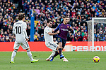 FC Barcelona's Philippe Coutinho and Real Madrid's Luka Modric (L) and Nacho Fernandez (R) during La Liga match between FC Barcelona and Real Madrid at Camp Nou Stadium in Barcelona, Spain. October 28, 2018. (ALTERPHOTOS/A. Perez Meca)