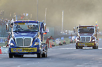 TOCANCIPÁ -COLOMBIA. 14-07-2013. 26° Jose A  Pantoja (I) campeón del Gran Premio Nacional De Tractomulas 2013 realizado hoy en el autodromo de Tocancipá, Colombia./ Jose A Pantoja (L) winner of the 26th  National Trucks Grand Prix 2013 at Tocancipa racetrack today in Tocancipa, Colombia. Photo: VizzorImage / Str