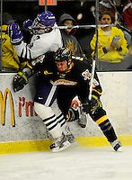 29 December 2007: University of Vermont Catamounts' forward Josh Franklin, a Freshman from Wrentham, MA, in action against the Holy Cross Crusaders at Gutterson Fieldhouse in Burlington, Vermont. The Catamounts rallied in the final seconds of play to tie the game 1-1. After overtime, although the official result remained a tie game, the Cats moved up to the championship round by winning a sudden death shootout in the second game of the Sheraton/TD Banknorth Catamount Cup Tournament...Mandatory Photo Credit: Ed Wolfstein Photo