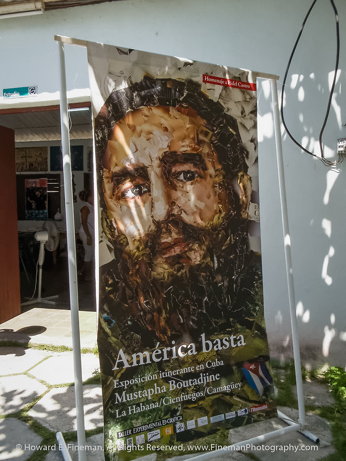 Fidel poster in Cienfuegos artists cooperative