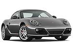 Low aggressive passenger side front three quarter view of a 2009 Porsche Cayman S.