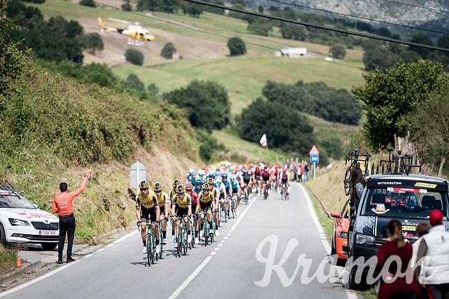 peloton cntrolled by Team Jumbo-Visma for red jersey (overall leader) Primoz Roglic (SVK/Jumbo-Visma)<br /> <br /> Stage 13: Bilbao to Los Machucos to Monumento Vaca Pasiega (166km)<br /> La Vuelta 2019<br /> <br /> ©kramon