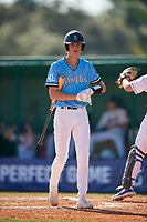 Gavin Guidry (10) during the WWBA World Championship at Terry Park on October 8, 2020 in Fort Myers, Florida.  Gavin Guidry, a resident of Lake Charles, Louisiana who attends Alfred M. Barbe High School.  (Mike Janes/Four Seam Images)