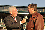 24 October 2009:  Mike Battaglia interviews trainer Eric Reed after his charge, Satans Quick Chick, with Leandro Goncalves up wins the Grade 2 Lexus Raven Run Stakes at Keeneland Race Course Lexington, Kentucky.