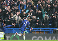 Timo Werner celebrates scoring Chelsea's second goal with the home fans during Chelsea vs Southampton, Premier League Football at Stamford Bridge on 2nd October 2021