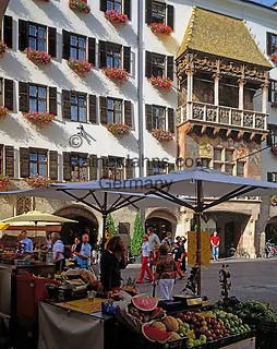Austria, Tyrol, Innsbruck: Old Town, Goldenes Dachl and fruit stall