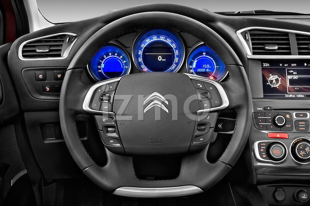 Steering wheel view of a 2013 Citroen C4 Exclusive 5 Door Hatchback 2WD