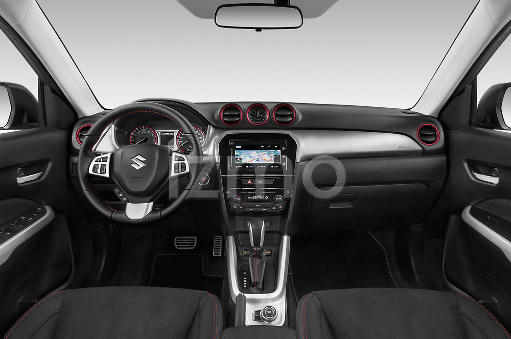 Stock photo of straight dashboard view of a 2018 Suzuki Vitara GLX  S 5 Door SUV