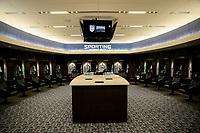 Kansas City, KS - Wednesday September 20, 2017: Sporting Kansas City locker room  during the 2017 U.S. Open Cup Final Championship game between Sporting Kansas City and the New York Red Bulls at Children's Mercy Park.
